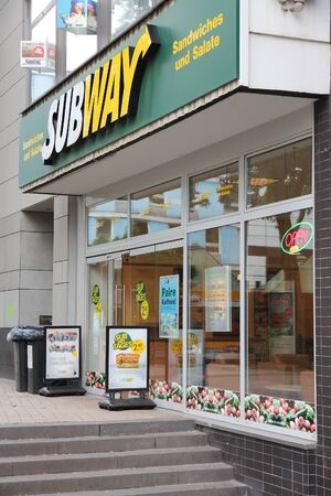 famous industries: DORTMUND, GERMANY - JULY 15, 2012: Subway sandwich shop in Dortmund, Germany. Subway has 44,280 fast food restaurants in 110 countries.