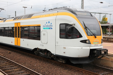 51: DORTMUND, GERMANY - JULY 16, 2012: Eurobahn train arrives in Dortmund, Germany. Eurobahn is part of French Keolis group. Keolis annual revenue is 5.1 billion EUR (2013). Editorial