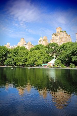city park skyline: New York City, United States - skyline view from Central Park.