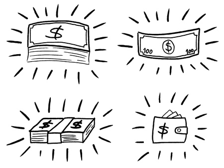 Business doodle illustration - sketchy style money icons. Banknotes and wallet.