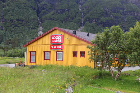 norge: STORVIKA, NORWAY - JULY 25, 2015: Coop Marked supermarket in Norway. It is part of Coop Norge cooperative group. As of 2015 there are 384 Coop Marked stores in Norway.