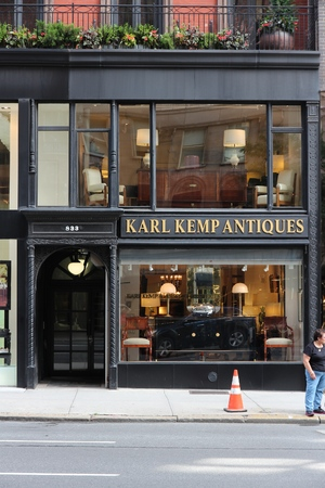 karl: NEW YORK, USA - JULY 2, 2013: People visit Karl Kemp Antiques at Madison Avenue, New York. Madison Avenue is one of the most recognized fashion shopping destination in the world.