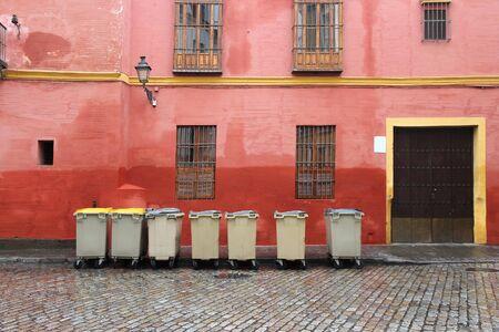 storage bin: Garbage in the city of Seville, Spain. Stock Photo