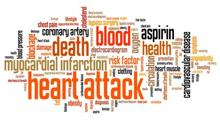 heart attack: Heart attack - myocardial health conceptual word cloud illustration. Word collage concept. Stock Photo