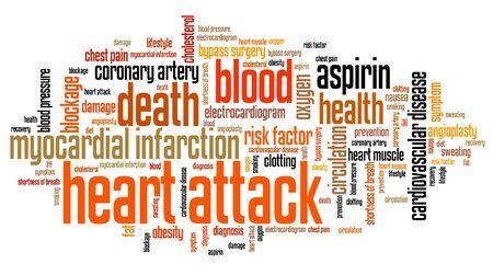 myocardial: Heart attack - myocardial health conceptual word cloud illustration. Word collage concept. Stock Photo