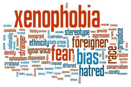 estereotipo: Xenofobia - cuestiones sociales y conceptos palabra nube ilustraci�n. Collage concepto Palabra.