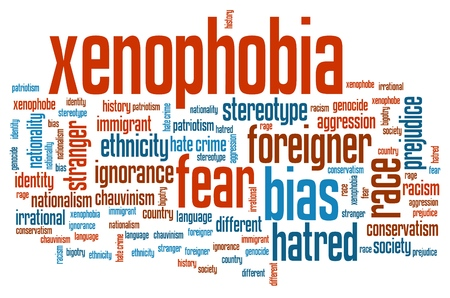 hatred: Xenophobia - social issues and concepts word cloud illustration. Word collage concept. Stock Photo