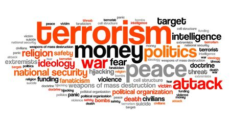 fanaticism: Terrorism issues and concepts word cloud illustration. Word collage concept. Stock Photo
