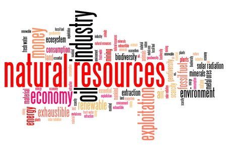 natural resources: Natural resources issues and concepts word cloud illustration. Word collage concept. Stock Photo