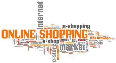 cloud tag: Online shopping - internet concepts word cloud illustration. Word collage.