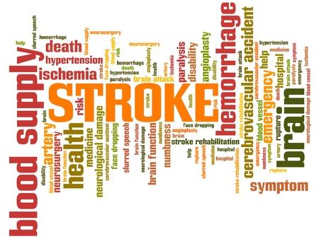 hemorragia: Stroke - conceptos de salud palabra nube ilustración. Collage concepto Palabra. Foto de archivo