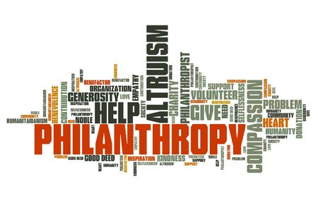 altruism: Philanthropy issues and concepts word cloud illustration. Word collage concept. Stock Photo