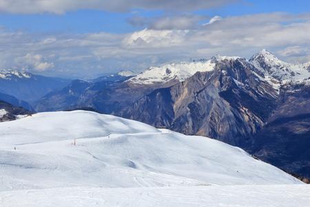ski run: French Alps winter - skiing area in Valloire (Galibier-Thabor ski resort).