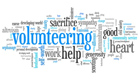 volunteer: Volunteering issues and concepts word cloud illustration. Word collage concept. Stock Photo