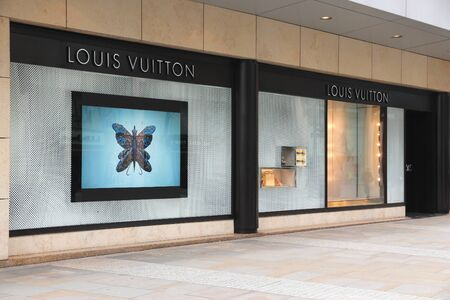 louis vuitton: MANCHESTER, UK - APRIL 22, 2013: Louis Vuitton luxury fashion store in Manchester, UK. Forbes says that LV was the most powerful luxury brand in the world in 2008 with $19.4bn USD value.