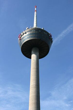 highriser: COLOGNE, GERMANY - AUGUST 31, 2008: Colonius, TV tower in Cologne, Germany. The communications tower was completed in 1981 and currently is 266m tall.