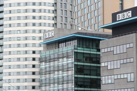 bbc: MANCHESTER, UK - APRIL 22, 2013: Architecture of MediaCity in Manchester, UK. MediaCityUK is a 200-acre development completed in 2011, used by BBC, ITV and other companies.