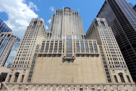 artdeco: CHICAGO, USA - JUNE 28, 2013: Civic Opera House in Chicago. The Civic Opera Building opened in 1929 and has Art Deco style features. Editorial
