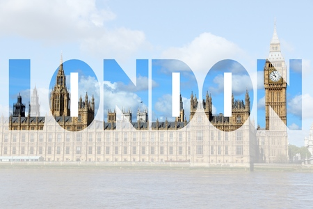 name graphics: London UK - city name word with photo in background. Stock Photo