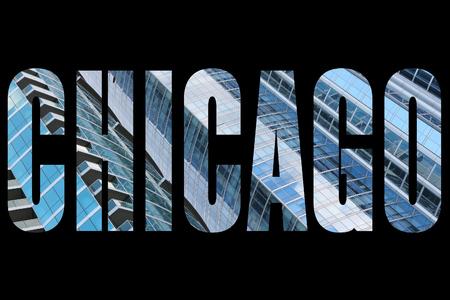 chicago city: Chicago city name - USA travel destination sign on black background.