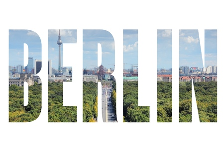 Berlin, Germany - city name word with photo in background. Isolated on white.