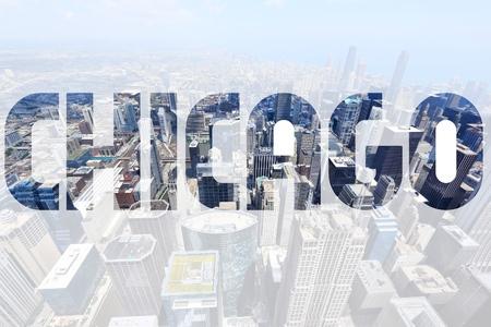 chicago: Chicago city name - USA travel destination sign.