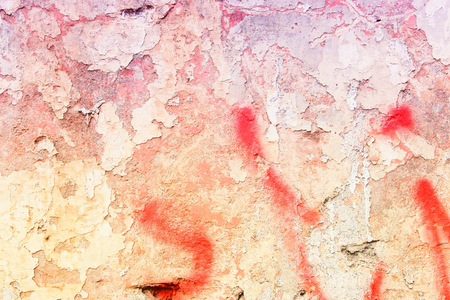 urban decline: Grunge concrete wall background - urban decay texture with peeling paint. Stock Photo