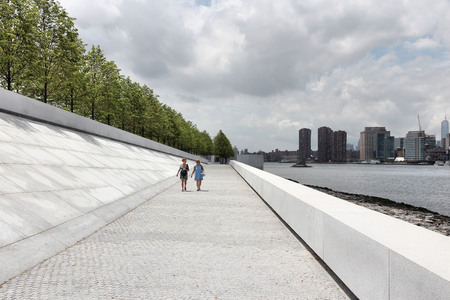 NEW YORK, USA - JULY 3, 2013: People visit Franklin D. Roosevelt Four Freedoms Park in New York. It was created in 2012. Editorial