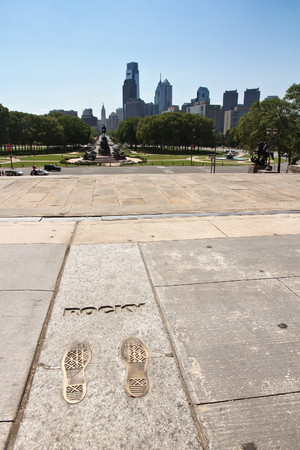 shoeprint: PHILADELPHIA, USA - JUNE 12, 2013: Rocky Steps monument in Philadelphia. The monument commemorates acclaimed movie Rocky from 1976.