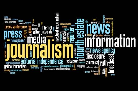 word: Journalism and press issues and concepts word cloud illustration. Word collage concept.