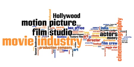 tag cloud: Film industry issues and concepts word cloud illustration. Word collage concept.