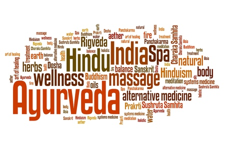 alternative medicine: Ayurveda Indian alternative medicine issues and concepts word cloud illustration. Word collage concept. Stock Photo