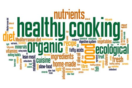 Healthy cooking and slow food diet concepts word cloud illustration. Word collage concept. Banque d'images