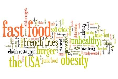 fast food: Fast food - unhealthy diet concepts word cloud illustration. Word collage concept.