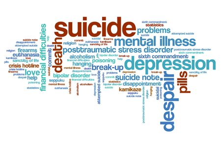 mental illness: Suicide and depression issues and concepts word cloud illustration. Word collage concept. Stock Photo