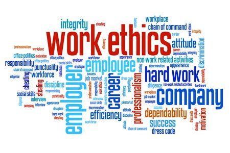 etica: cuestiones de ética de trabajo y conceptos palabra nube ilustración. Palabras concepto de collage. Foto de archivo