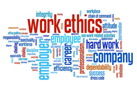 ethics: Work ethics issues and concepts word cloud illustration. Word collage concept. Stock Photo