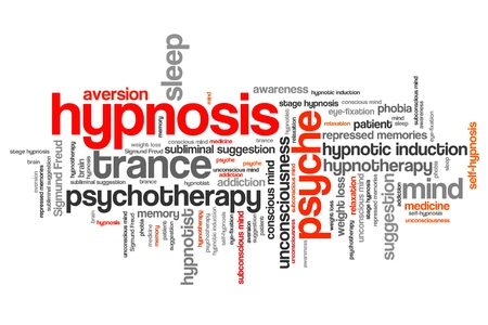 word collage: Hypnosis issues and concepts word cloud illustration. Word collage concept. Stock Photo