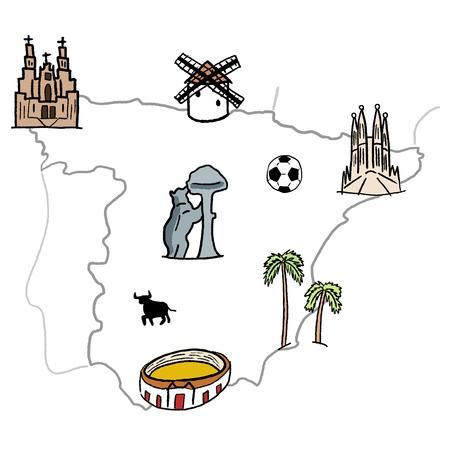 compostela: Spain landmarks map - cute doodle graphics with Madrid, Barcelona, Santiago de Compostela, Seville and football.