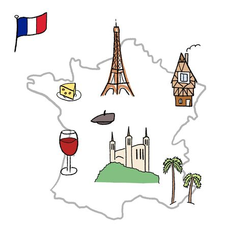 strasbourg: France landmarks map - Paris, Lyon, Cannes, Strasbourg, cheese, wine and beret.