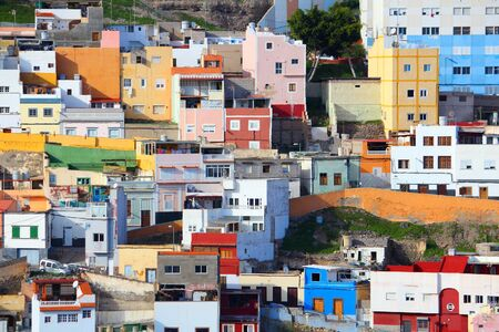 las palmas: Las Palmas, Gran Canaria - colorful houses of Barrio San Roque.