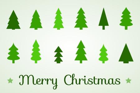 contour: Christmas tree icon collection - contour shapes .