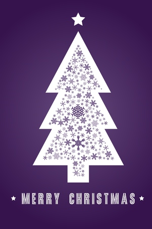 christmas greeting card: Christmas greeting card design - snowflake decorated tree. Illustration