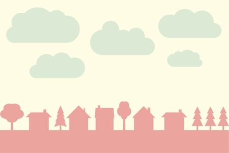 small town: Small town contour with blank copy space. Village illustration. Illustration