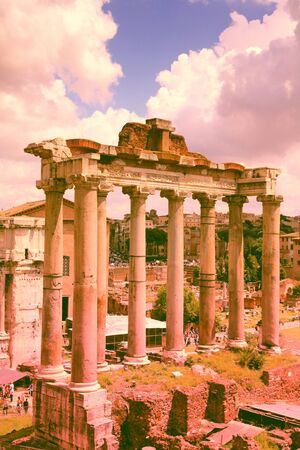 filtered: Europe landmark - Roman Forum in Rome. Filtered color style.