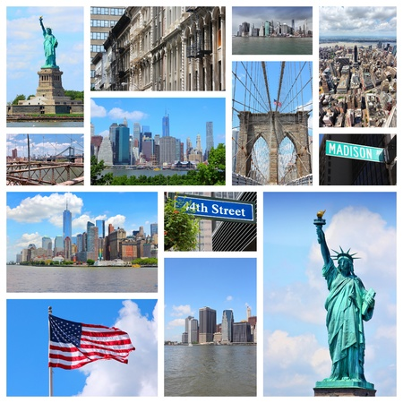travel collage: New York City travel collage - photo set with Statue of Liberty, Manhattan Skyline and Madison Avenue.