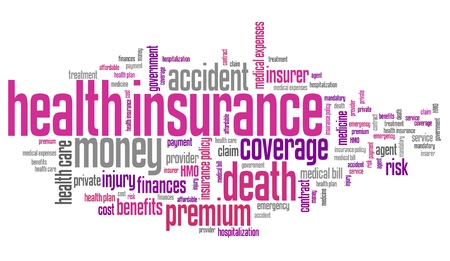 health collage: Health insurance conceptual word cloud illustration. Word collage concept.