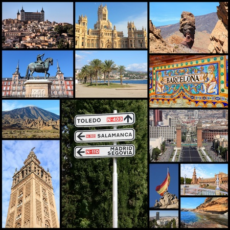 includes: Travel collage from Spain. Collage includes famous places like Madrid, Barcelona, Toledo, Seville, Malaga and Tenerife.