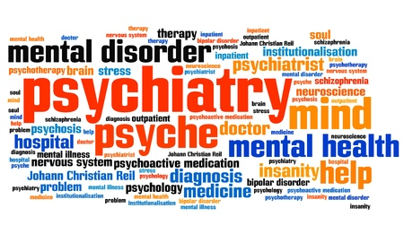 psychiatry: Psychiatry issues and concepts word cloud illustration. Word collage concept.
