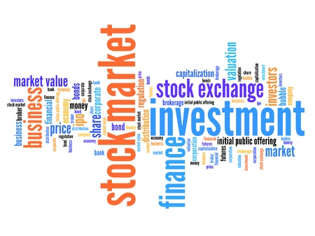 Stock market investment keywords cloud illustration. Word collage concept. Stock Photo